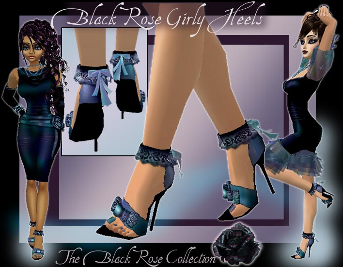 Black Rose Pinup Girly Heels